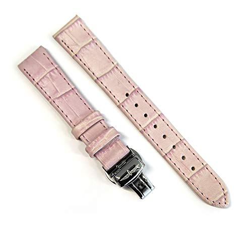 Rotary Genuine Leather Watch Strap 16mm Crocodile Skin Replacement Band with Steel Deployment Clasp