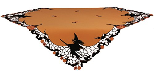Xia Home Fashions Witch Embroidered Cutwork Halloween Table Topper, 34 by 34