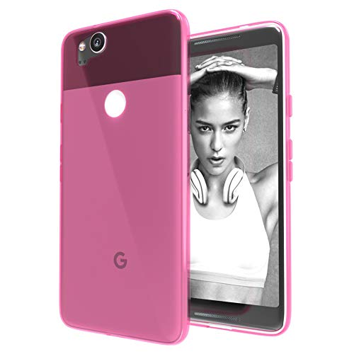 (Google Pixel 2 Case,Ultra [Slim Thin] TPU Shock Absorption/Scratch Resistant Flexible Gel Rubber Soft Skin Silicone Protective Case Cover for Google Pixel 2 (Crystal-Pink))