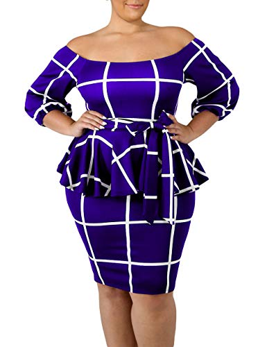VINKKE Women's Plus Size Off Shoulder Peplum Dress Checked Bodycon Party Dress Blue 2XL