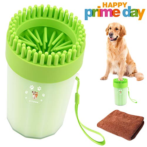 Paw Bath - YITOOK Dog Paw Cleaner, Portable Dog Feet Washer with Towel,Upgrade 2 in1 Pet Paw Cleaner Plus Grooming Dog Plunger Feet Washer Cup for Muddy Paws (Green)
