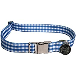 """Southern Dawg Gingham Navy Blue Dog Collar -Medium-3/4"""" Neck 14 to 20"""" Made in the USA by Yellow Dog Design"""