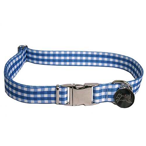 Southern Dawg Gingham Navy Blue Premium Dog Collar - Size Small 10