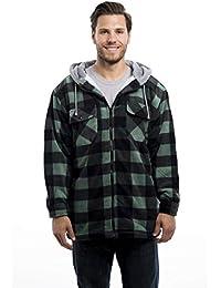 Men's Warm Sherpa Lined Zip Up Hoodie Fleece Shirt Jacket-Classic Buffalo Plaid