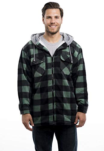 - Trail Crest Mens Buffalo Plaid Classic Sherpa Lined Zip Up Hooded Shirt Jacket, Green, X-Large