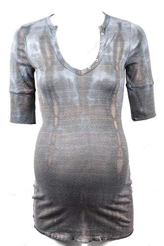 Michael Stars Maternity Sleet Blue OSFA Shine vee-Neck Henley Shirt top