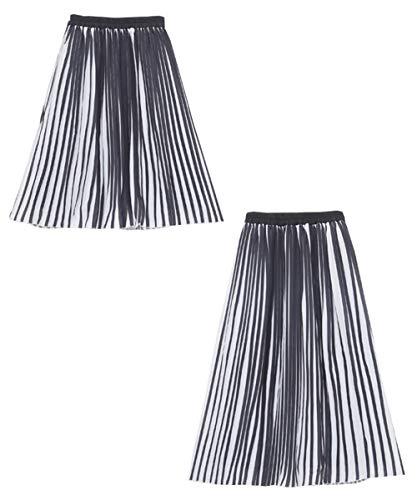 (ハッピーマリリン) 膝下丈 と ロング丈 から選べる!! 配色カラー プリーツスカート 【431155】