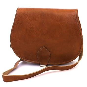 Medium Leather Saddle Bag (Tan): Amazon.co.uk: Shoes & Bags
