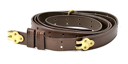 """Brown Leather Military Style Rifle Sling 1"""" width, used for sale  Delivered anywhere in USA"""