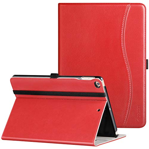 Ztotop Case for New IPad 9.7 Inch 2018/2017,Premium PU Leather Business Slim Folding Stand Folio Cover with Auto Wake/Sleep,Pencil Holder and Multiple Viewing Angles,Red