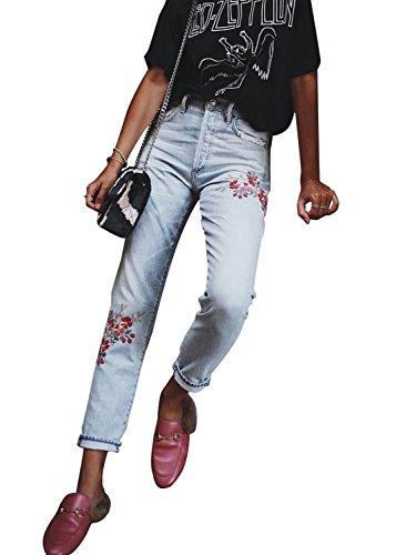 Embroidered Slim Cut Jeans (Berrygo Women's High Waist Floral Embroidered Ankle Length Skinny Slim Boyfriend Denim Jeans Pockets Light Blue)