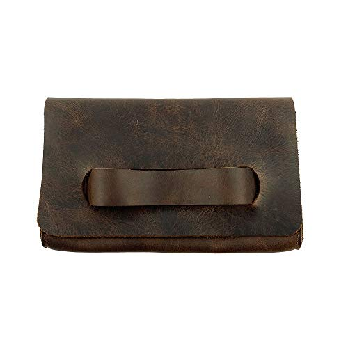 Hide & Drink, Leather Clutch Bag With Handle/Handbag/Pocketbook/Travel, Handmade Includes 101 Year Warranty :: Bourbon…