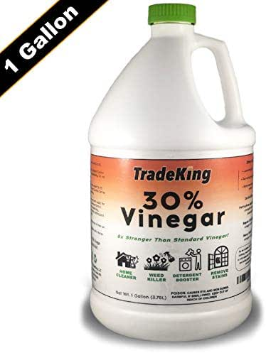 TradeKing 30% Vinegar - 1 Gallon of Industrial Strength Concentrated Vinegar - Perfect for Home & Garden - All Natural Weed Killer, Cleaning Solution, Stain Remover & More.
