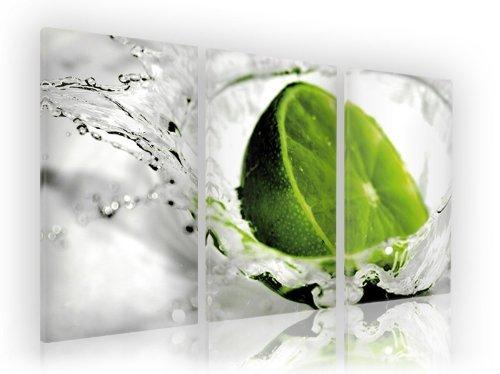 WOW 3 teilig je 40x80 cm (Gesamt 130x80cm) Limette Küchenbild Foto auf Keilrahmenbild - fertig gerahmt auf Keilrahmen, Qualitätsware 100% Made in Germany! Top Qualität günstigster Preis Das ideale Geburtstagsgeschenk.