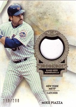 2017 Topps Tier One Relics Legends #T1RL-MP Mike Piazza Game Worn New York Mets Jersey Baseball Card - White Jersey Swatch - Only 200 made!