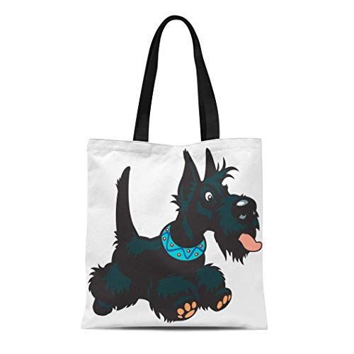 - Semtomn Canvas Tote Bag Shoulder Bags Adorable Black Aberdeen Dog Scottish Terrier Breed Cartoon White Women's Handle Shoulder Tote Shopper Handbag