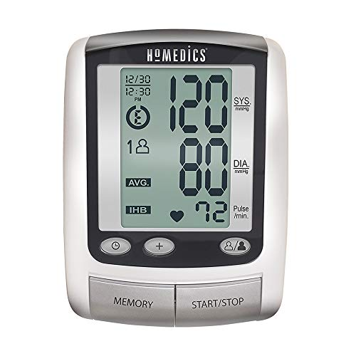 HoMedics Portable Deluxe Arm Blood Pressure Monitor with Smart Measure Technology, One-Touch Operation, 2 Cuffs, Memory Average -Battery Operated