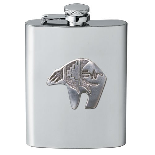 1pc, Pewter Bear Fetish Flask