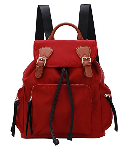 Teenage Backpack Drawstring for 6 red Straps Theft Womens Anti Girls Shoulder Black q0fA7