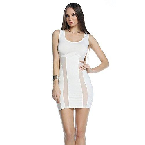 Kaamastra Sexy Mesh Insert White Bodycon DressQC9331