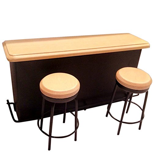 BESTLEE 1:12 Dollhouse Kitchen Furniture Pub Bar Table with Two (Bar Pub Game Stool)