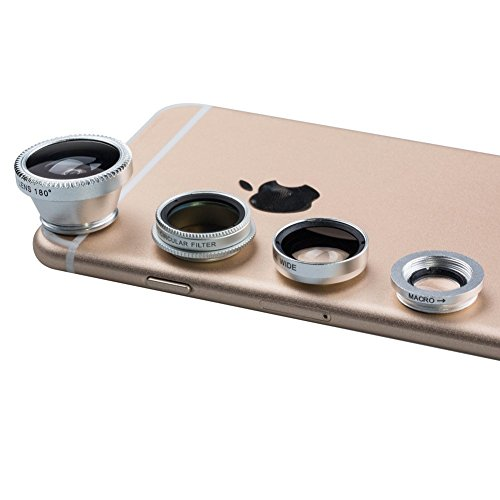 Luxsure¨ Universal 4 in 1 Camera Lens Kit Fish Eye Lens + 2 in 1 Macro Lens + Wide Angle Lens + CPL Lens for iPhone