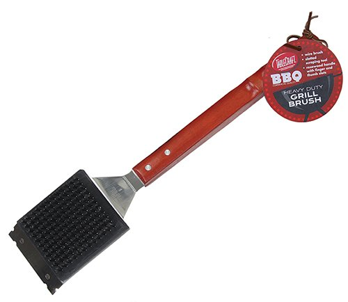 TableCraft BBQWBR BBQ Stainless Steel Brush with Wood Handle, 18-Inch, Silver