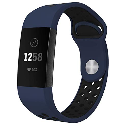 NO1seller Top Bands Compatible for Fitbit Charge 3 Small Large, Soft Silicone Sport Strap with Air Holes Replacement Wristband for Fitbit Charge 3 and Charge 3 SE Fitness Tracker