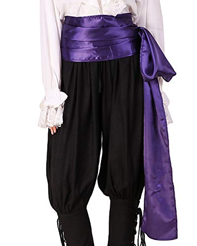 ThePirateDressing Pirate Medieval Renaissance Halloween Cosplay Costume Satin Large Sash (Purple) -
