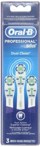 Oral-B Dual Power Clean remplacement Brosse à dents électrique tête, 3 comte