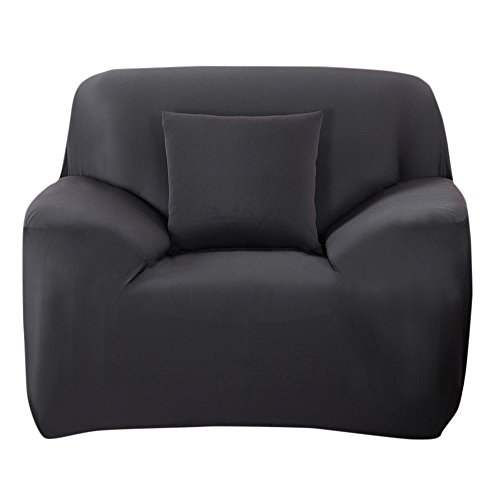 Scorpiuse Stretch Arm Chair Cover 1-Piece Polyester Spandex Fabric Armchair Slipcover Black