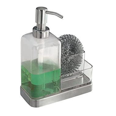 InterDesign Forma Kitchen Countertop Soap Dispenser Pump, Sponge, Scrubby Organizer - Clear/Brushed Stainless