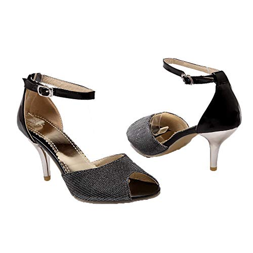Tsmlh007226 Sintético Aalardom Negro Sólido Tacón Mujeres De Vestir Sandalias Medio q8pqarw