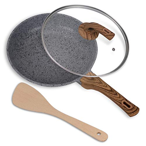 11.5 Inch Frying Pan with Lid Nonstick Stone Derived Granite Skillet Omelette Pan with Stone Earth Coating and Wooden… Salted Salad