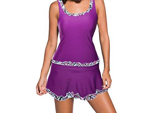 Fashion Pleated Design Printed Lotus Leaf Bikini Skirt Swimsuit Swimwear 41973,Purple,XXL
