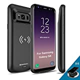 NEWDERY [Upgraded Samsung Galaxy S8 Battery Case Qi Wireless Charging Compatible, 5000mAh Slim Rechargeable Extended Charger Case Compatible Samsung Galaxy S8 (2017)-(5.8' Black)
