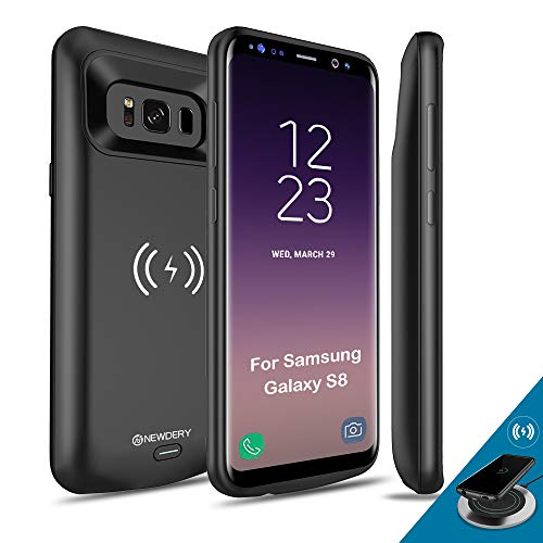 NEWDERY Upgraded Samsung Galaxy S8 Battery Case Qi Wireless Charging Compatible, 5000mAh Slim Rechargeable Extended Charger Case Compatible Samsung Galaxy S8 (2017)-(5.8 Inches Black)