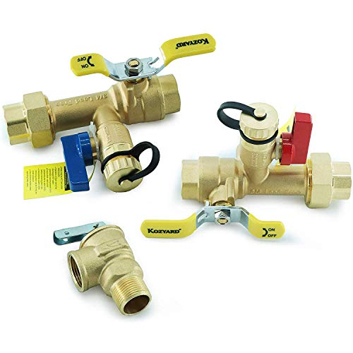 (Kozyvacu 3/4-Inch IPS Isolator Tankless Water Heater Service Valve Kit with Clean Brass Construction)