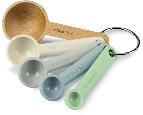 ZEAL Perfect Measure Silicone Measuring Spoons - Set of 5 - For Measuring Wet and Dry Ingredients - Neutral