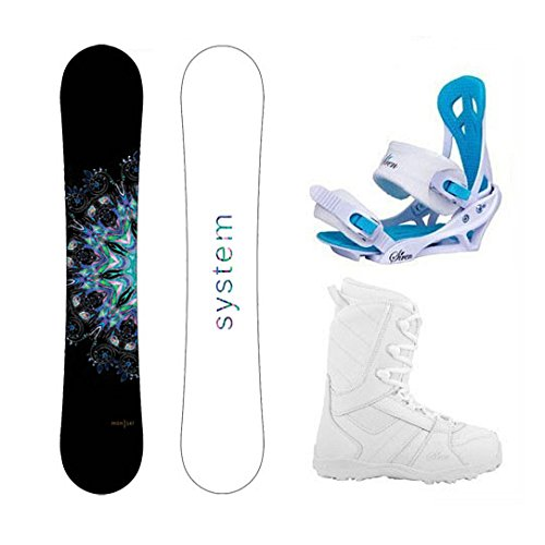 System 2018 MTNW Snowboard w/Mystic Bindings and Lux Boots Women's Complete Snowboard Package