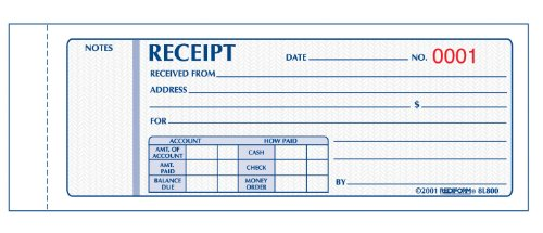 REDIFORM Money Receipts, Carbonless, 3 Parts, 2-3/4