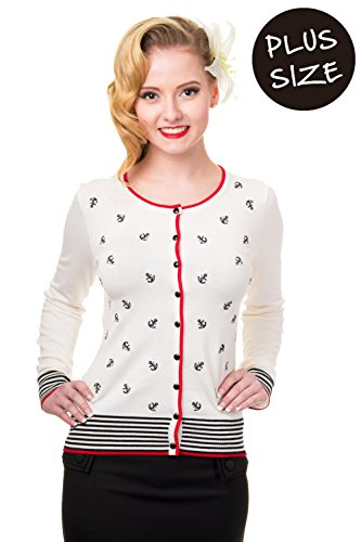 Banned Plus Size Close Call Vintage Retro Cardigan - White/Black/Red / XL