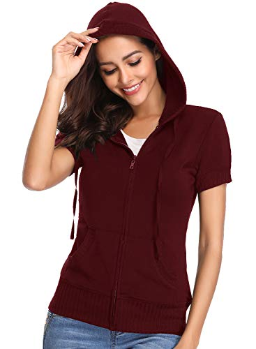 MISS MOLY Women's Short Sleeve Hoodie Full Zip Up Thin Cotton Slim Fit Sweatshirt Kanga Pocket Red XL