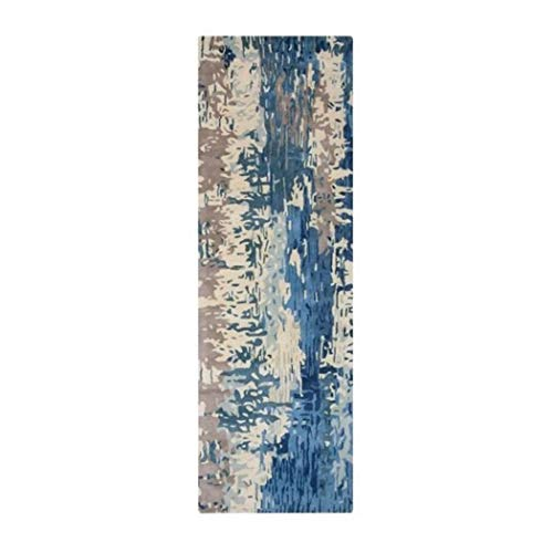 AZ 2'6 x 8' Hand Tufted Blue Painting Abstract Contemporary Wool Runner Rug, Soft Wool Unique Nature Teal Arctic Lake River Ice Cool Multi Color, Rectangle Indoor Living Room Hallway Accent Carpet