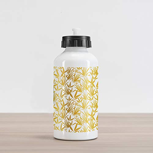 (Ambesonne Bamboo Aluminum Water Bottle, Tropic Theme Bamboo Leaves and Outgrowing Shoots Reflecting Sun, Aluminum Insulated Spill-Proof Travel Sports Water Bottle, Earth Yellow and Pale Coffee)