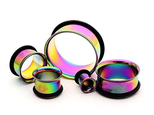 (Mystic Metals Body Jewelry Rainbow Steel Single Flare Tunnels - 1/2