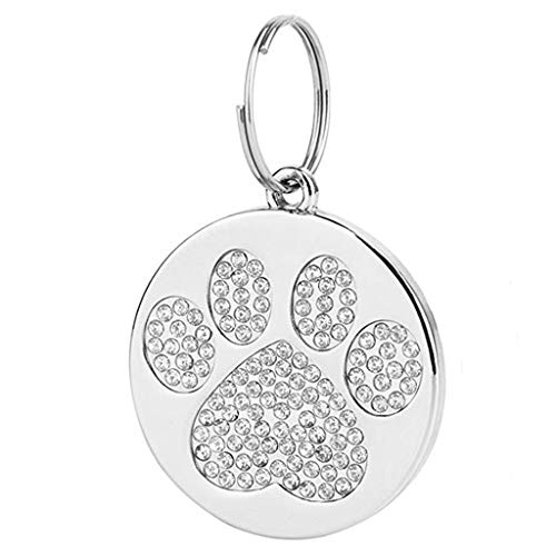 - Hisoul Metal Pet ID Tag - Personalized Dog Tags & Cat Tags - Pet Jewelry Necklace Diamond Paw Dog Cat ID Name Tags - Prevent Lost ( White)