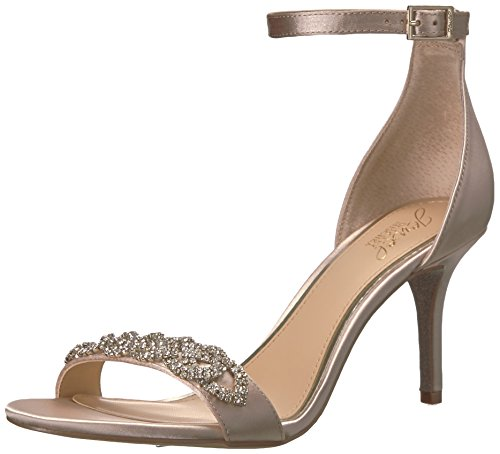 Jewel Badgley Mischka Women's Alana Heeled Sandal, Champagne, 6 Medium US