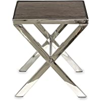 Cannes Sofa Side Coffee Accent Table in Stainless Steel Cross Legged Frame and Reclaimed Wood & Glass Top