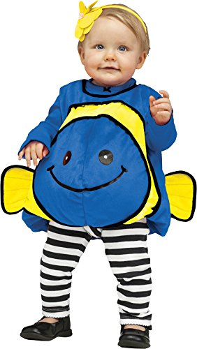 [UHC Plush Baby's Blue Fish Outfit Fancy Dress Infant Child Halloween Costume, 12-24M] (Little Girl Scary Clown Costume)